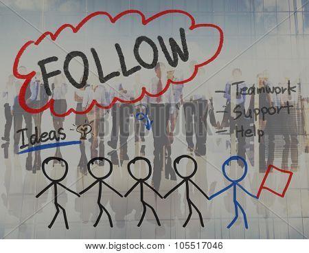 Follow Following Teamwork Member Leader Concept