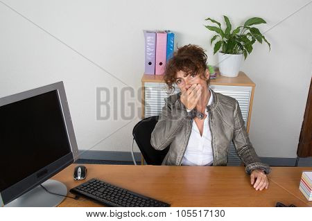 Portrait Of Surprised Excited Young Business Woman Covering With Hands Her Mouth,