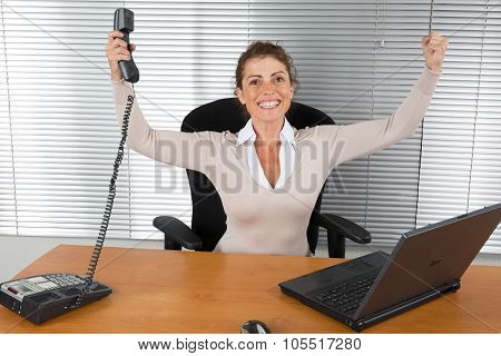 Good News -successful Business Woman With Arms Up