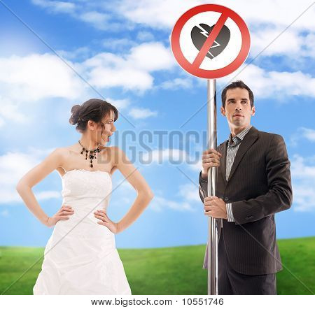 Symbolic wedding picture - don't break my heart!