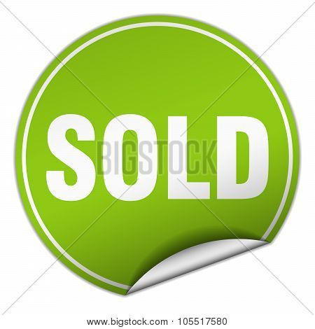 Sold Round Green Sticker Isolated On White