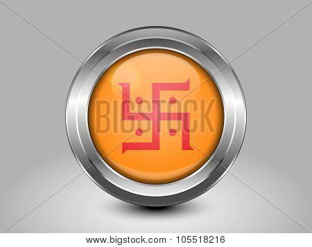 India Jain Variant Flag. Metal Round Icon