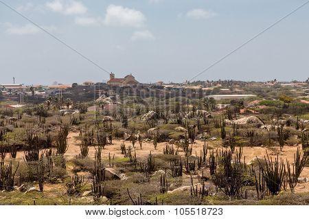 Aruba Desert With Church In Background