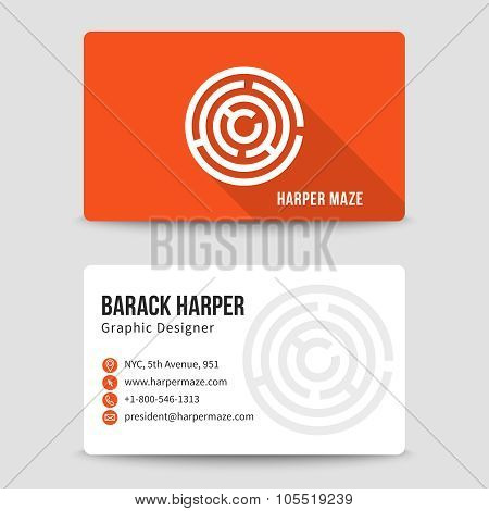 Modern business card vector template with maze logo