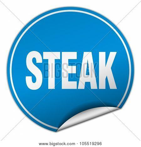 Steak Round Blue Sticker Isolated On White