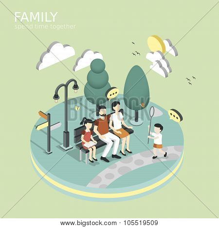 family spend time together concept in flat 3d isometric graphic