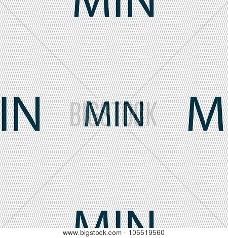 Minimum Sign Icon. Seamless Abstract Background With Geometric Shapes.