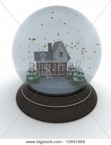 Little House In Winter Snow Globe
