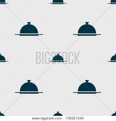 Food Platter Serving Sign Icon. Table Setting In Restaurant Symbol. Seamless Abstract Background