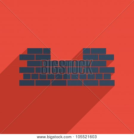 Flat icons modern design with shadow of brickwork