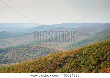 View across mountain ridges in Ouachita National Forest