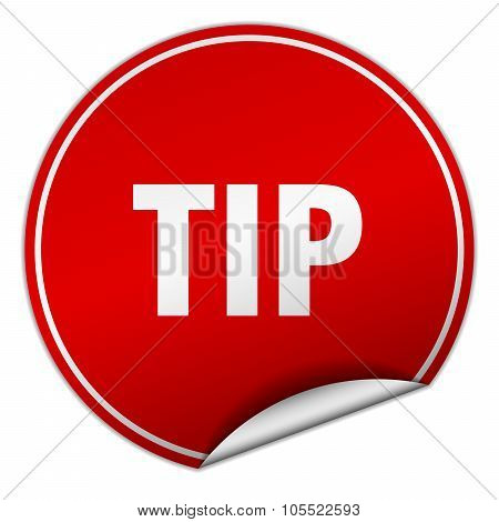 Tip Round Red Sticker Isolated On White