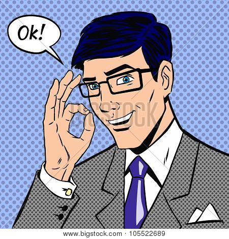 Successful businessman saying okay in vintage pop art comics style with halftone dots shading