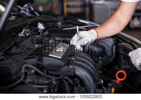 Hands Of Car Mechanic