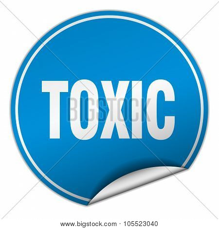 Toxic Round Blue Sticker Isolated On White