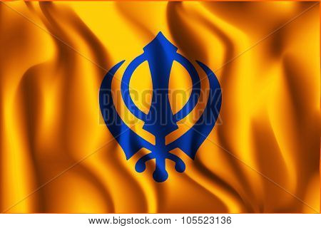 India Nishan Sahib Variant Flag. Rectangular Shape Icon