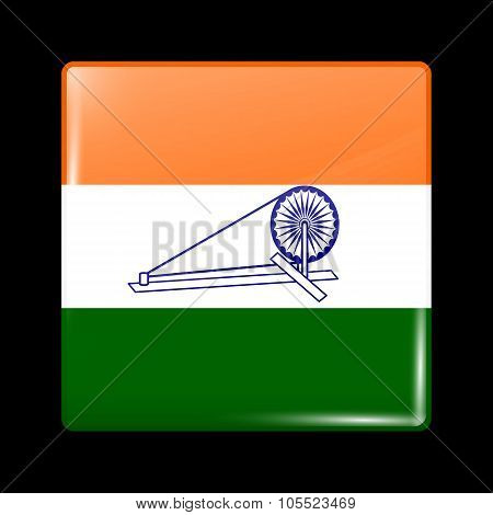 India Swaraj Variant Flag. Glassy Icon Square Shape