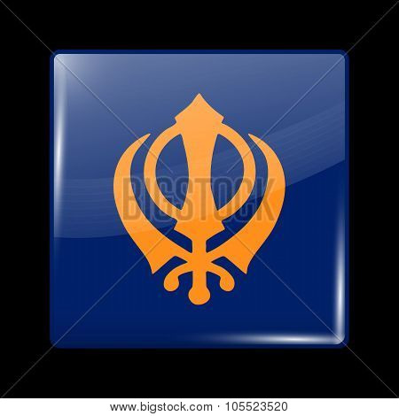 India Nishan Sahib Variant Flag. Glassy Icon Square Shape