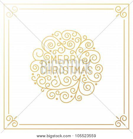 Vector Merry Christmas Hand Lettering In Outline Style