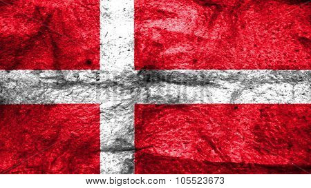 Flag of Denmark, Danish Flag painted on wooly texture