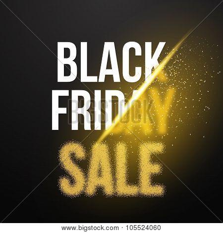 Black Friday Sale Gold Explosion Poster. Black Friday Blackwork