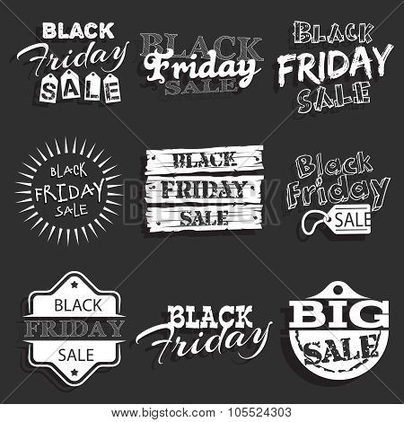 Black friday label, badge with calligraphic design vector set