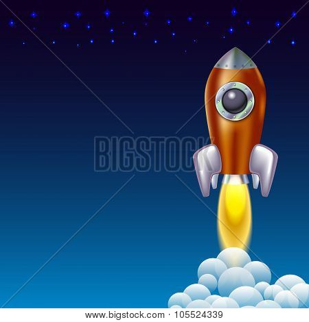 Rocket Icon  Space Vector Spaceship Technology Illustration Ship Fire Symbol Flame Cartoon