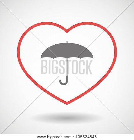 Line Heart Icon With An Umbrella