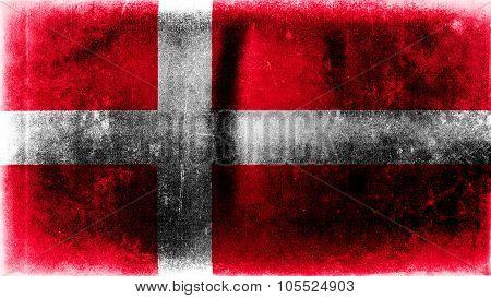 Flag of Denmark, Danish Flag painted on paper texture