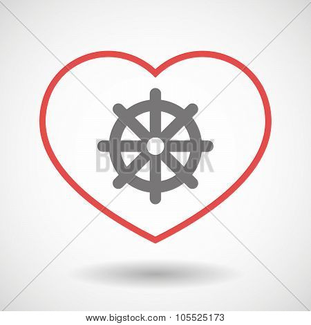 Line Heart Icon With A Dharma Chakra Sign