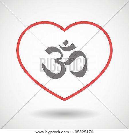 Line Heart Icon With An Om Sign