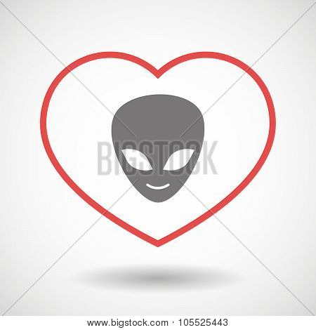 Line Heart Icon With An Alien Face