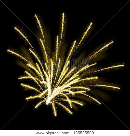Gold glittering sparkle fireworks explosions