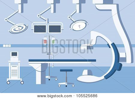 Medical hospital surgery operating room, theater with equipment in flat vector style
