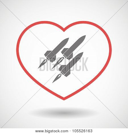 Line Heart Icon With Missiles