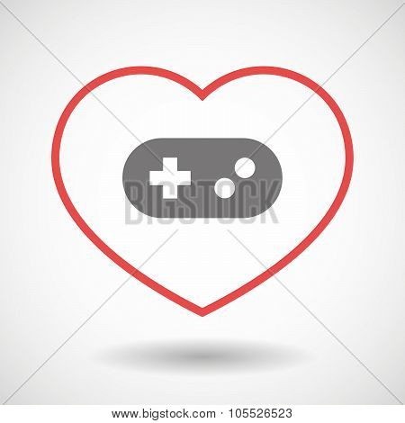 Line Heart Icon With A Game Pad