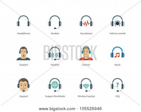 Headphones and headset color icons on white background.