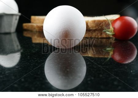 Egg on the kitchen worktop