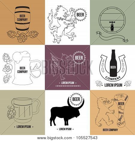 Set of beer logo templates and design.