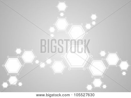 Molecular structure abstract tech light background. Vector medical design
