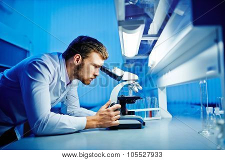 Modern chemist studying new microbiological substance in lab