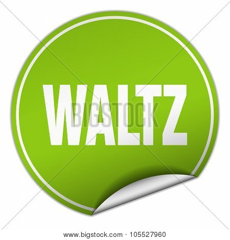 Waltz Round Green Sticker Isolated On White