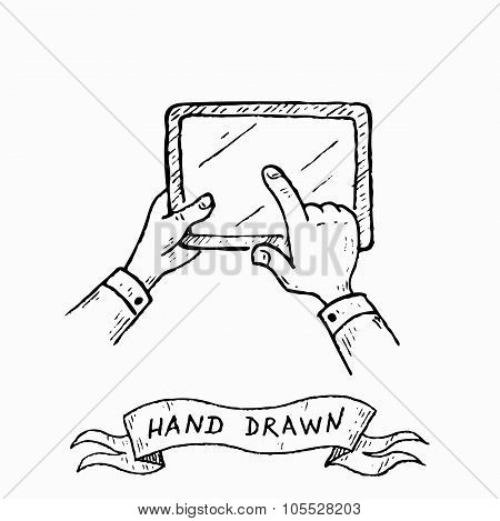 Vector Hands Holding Tablet, Pointing, Touch Screen. Hand Drawn By Ink Pen In Vintage Style