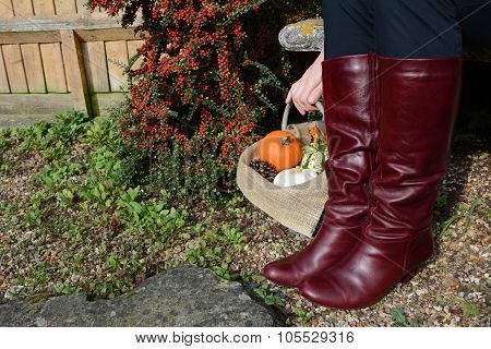 Woman In Boots With A Basket Of Pumpkins