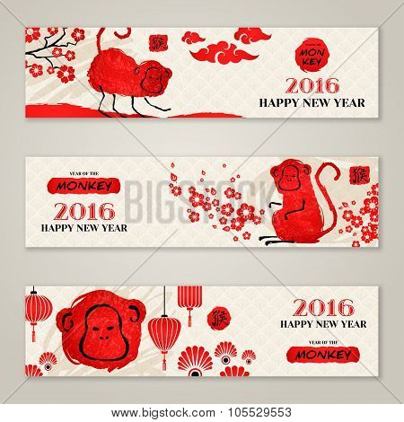 Horizontal Banners Set with Hand Drawn Chinese New Year Monkeys.