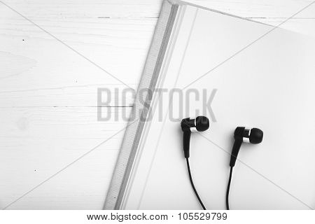 Notebook And Ear Phone Black And White Color Style