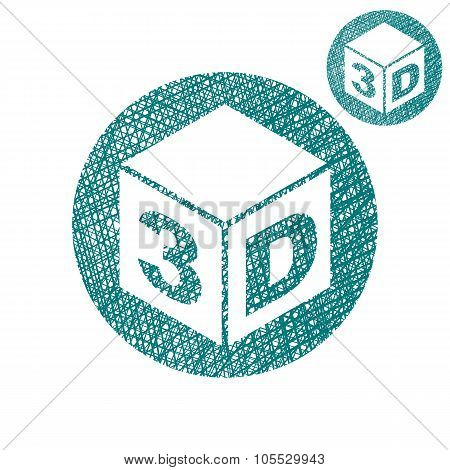 3D Simple Single Color Icon Isolated On White Background With Sketch Lined Hand Drawn Texture.
