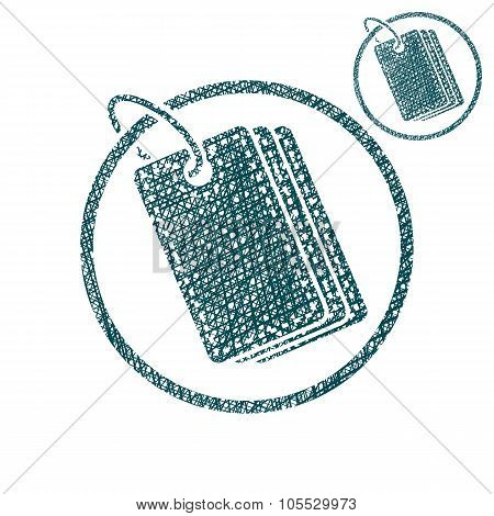 Tag Retail Theme Vector Simple Single Color Icon Isolated On White Background With Sketch texture
