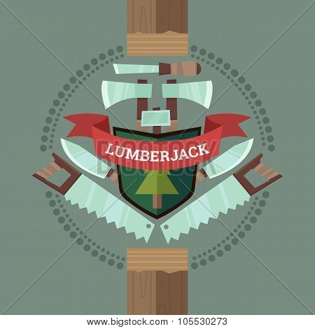 Vintage Lumberjack Crest Emblem In Flat Cartoon Style
