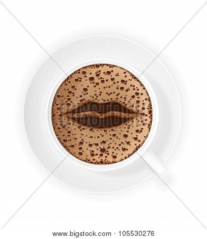 Cup Of Coffee Crema And Symbol Lips Vector Illustration